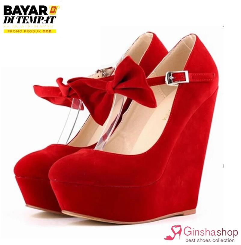 Ginshashop - Sepatu Wanita Wedges Gelang Pita GWS - 1072 Merah sandal wedges / wedges wanita