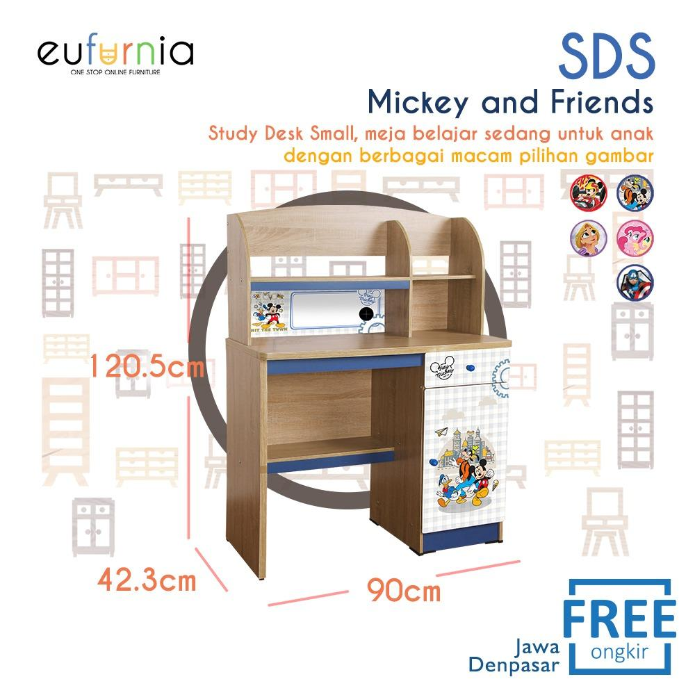 Eufurnia Olympic Kids Study Desk Small - Meja Belajar Anak Character Mickey Rapunzel My Little Pony