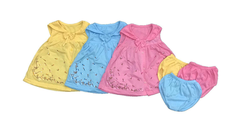 BAYIe - 3 PCS Setelan Baju bayi Perempuan Kancing Depan MOM'S GIFT usia 0 - 6 bulan / Pakaian anak Cewek