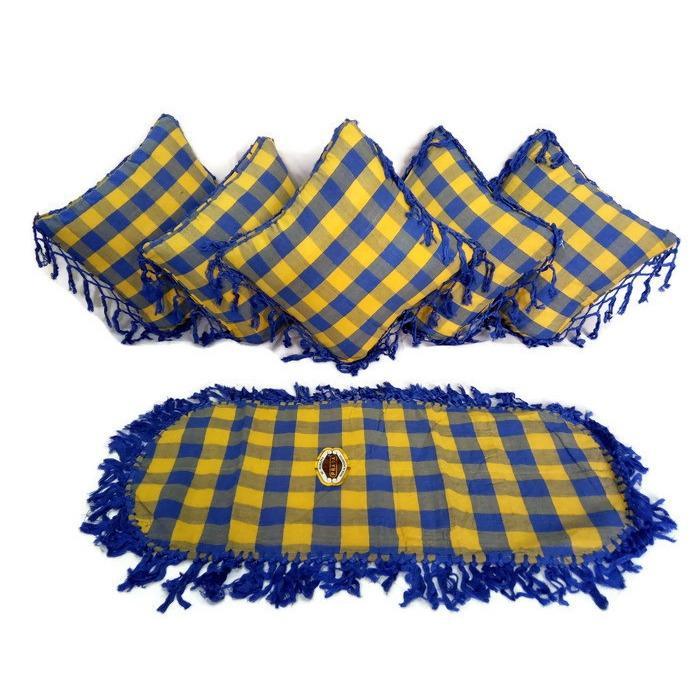 Ezpata Set (SBK) 5 Sarung Bantal Kursi +Taplak Meja Tamu Bahan Tenun Rumbai Motif Kotak-Kotak