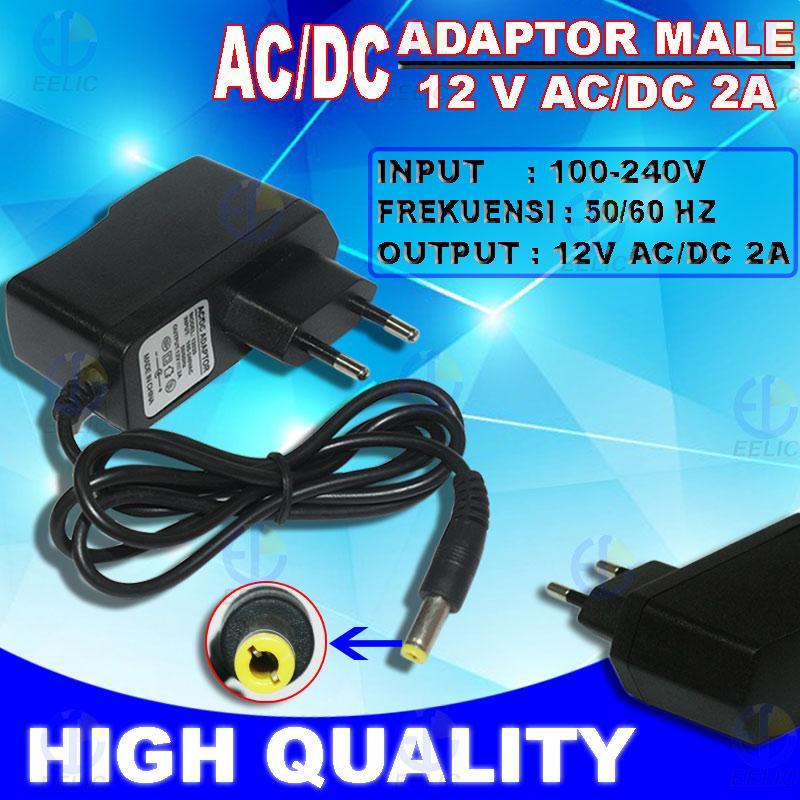 EELIC ADT-2AMP HITAM AC/DC ADAPTOR CHARGER 12 VOLT 2 AMPERE ADAPTOR CCTV ADAPTOR LAMPU STRIP LIGHT