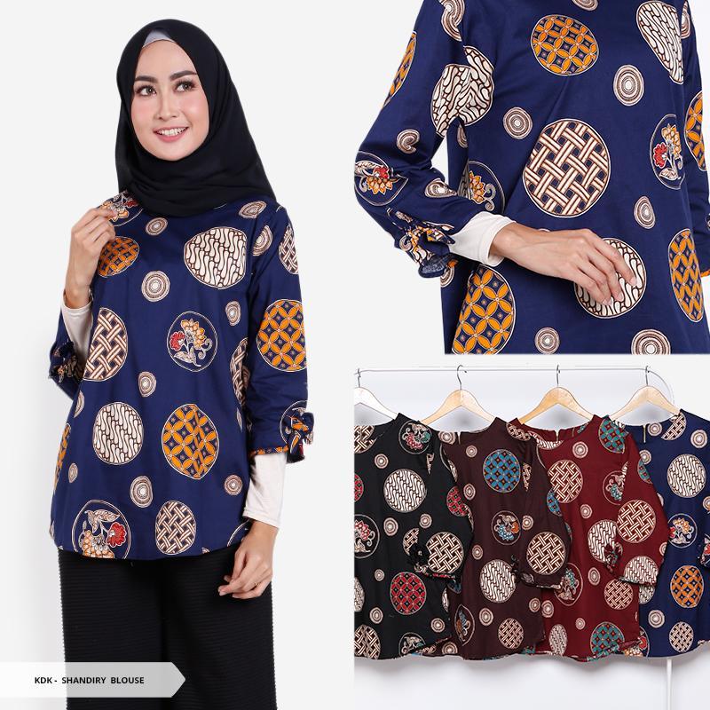 SB Collection Atasan Blouse Zeta Kemeja Lengan Pendek Batik Wanita. Source · Shandiry Batik Half