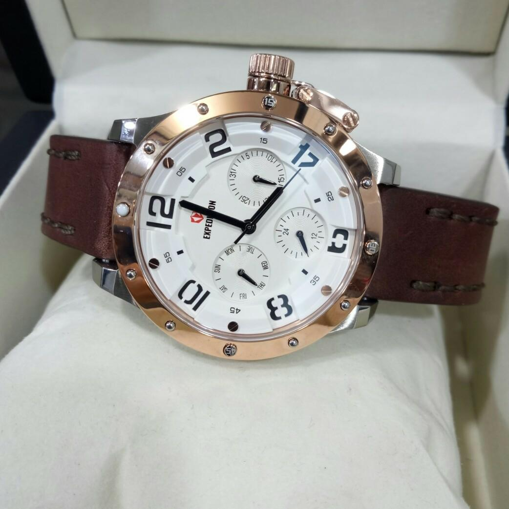 Buy Sell Cheapest Tali Jam Expedition Best Quality Product Deals E6392 Rose Gold Black Men Tangan 6381 Original Kulit