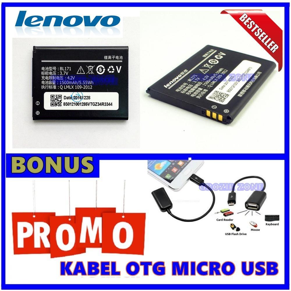 Lenovo Baterai / Battery BL171 For Lenovo A390 / A60 Original - Kapasitas 1500mAh + Gratis Kabel Otg Micro Usb ( Grozir Zone )