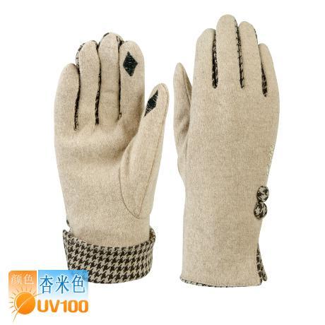 UV100 wanita musim gugur dan musim dingin elastis wol sarung tangan hangat sarung tangan (Aprikot beige)