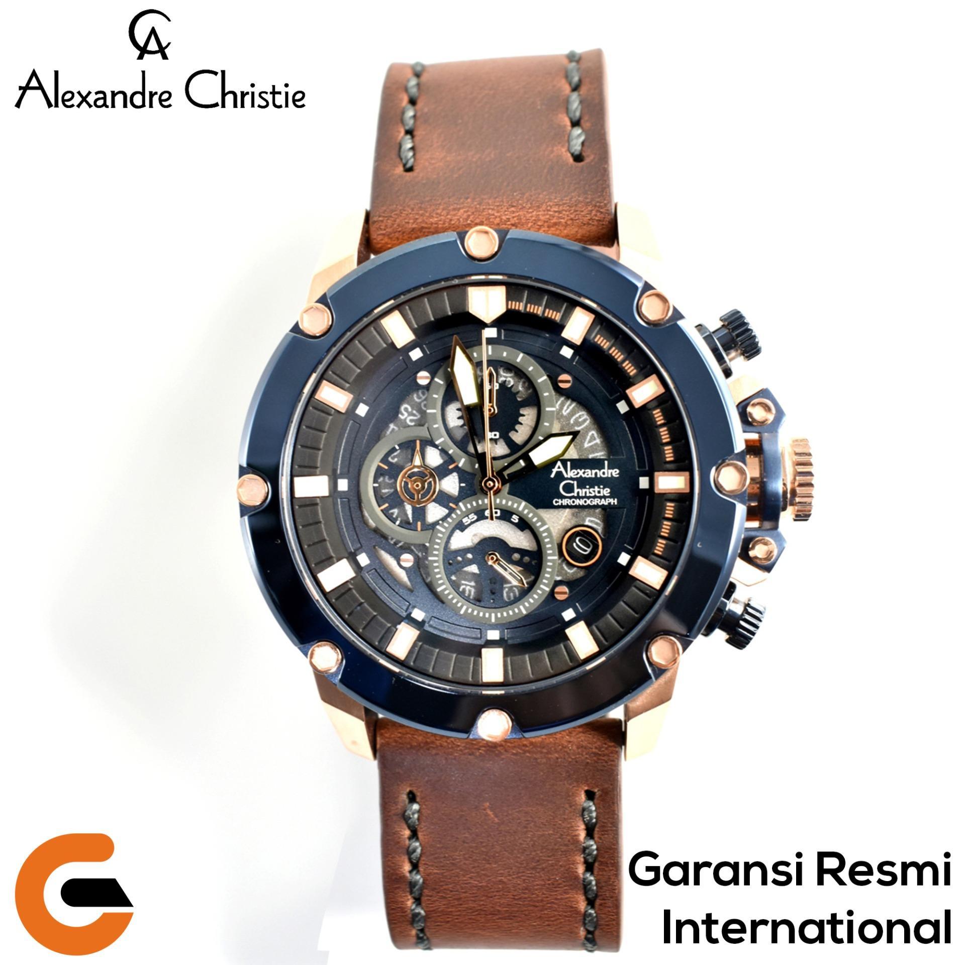 Alexandre Christie Chronograph Jam Tangan Pria AC 6416 Tali Kulit Leather   Jam  Tangan Alexander Christie 472ae6bf46