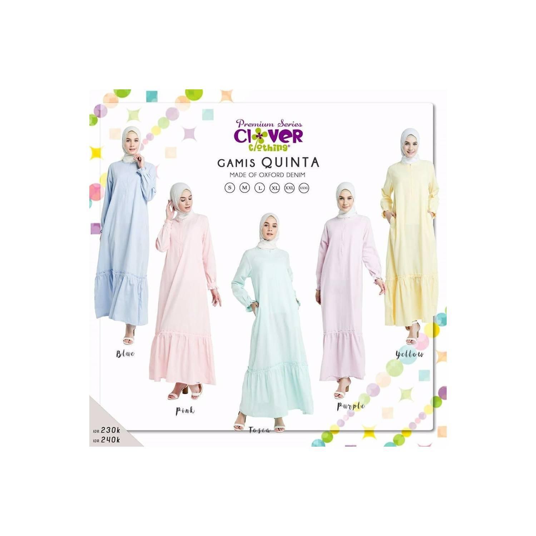MURAH Gamis Clover Clothing Quinta Dress Pastel Oxford Denim Jual Baj