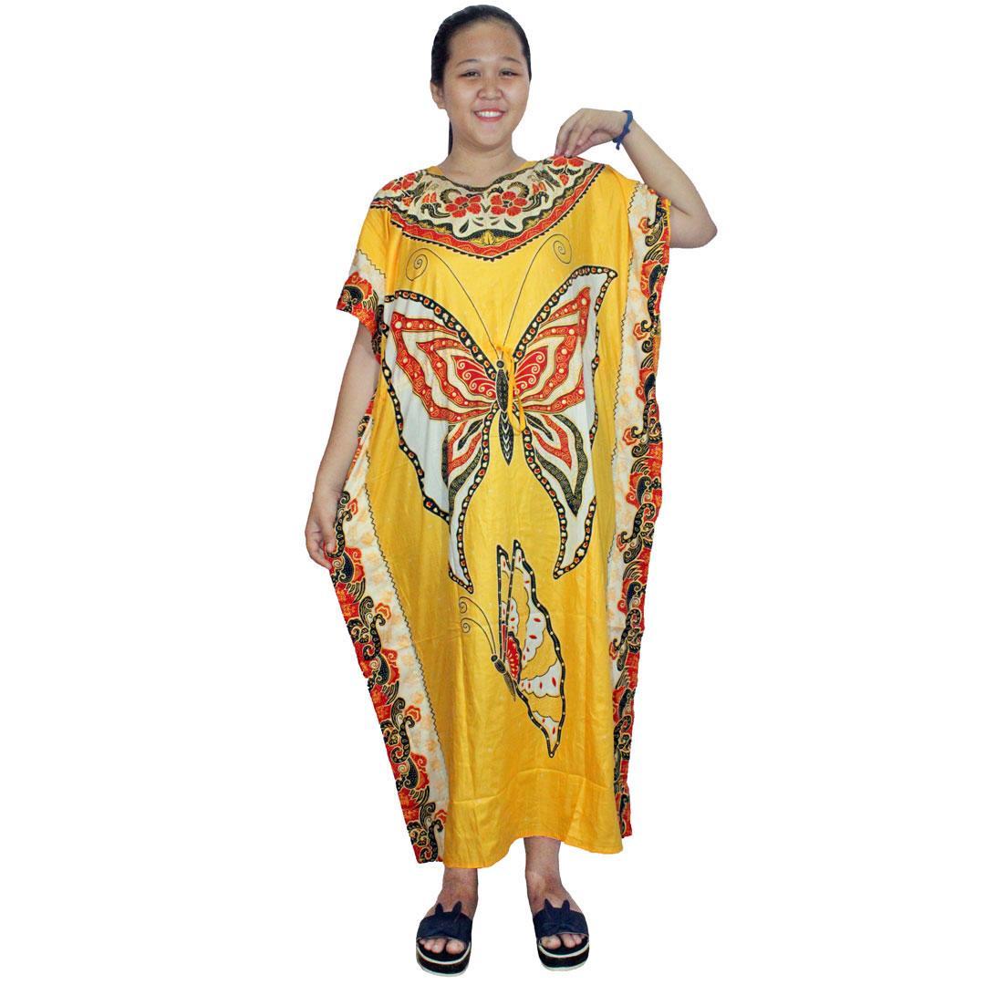 Dress Santai Jumbo, Pakaian Wanita Panjang, Model Kalong, Batik Leher O ( LPT002-04 ) Batik Alhadi