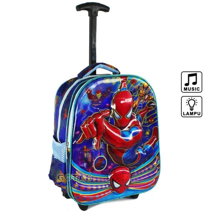 Tas Roda Troli Marvel Spiderman 7D 2K Biru Lampu Music Trolley Anak TK