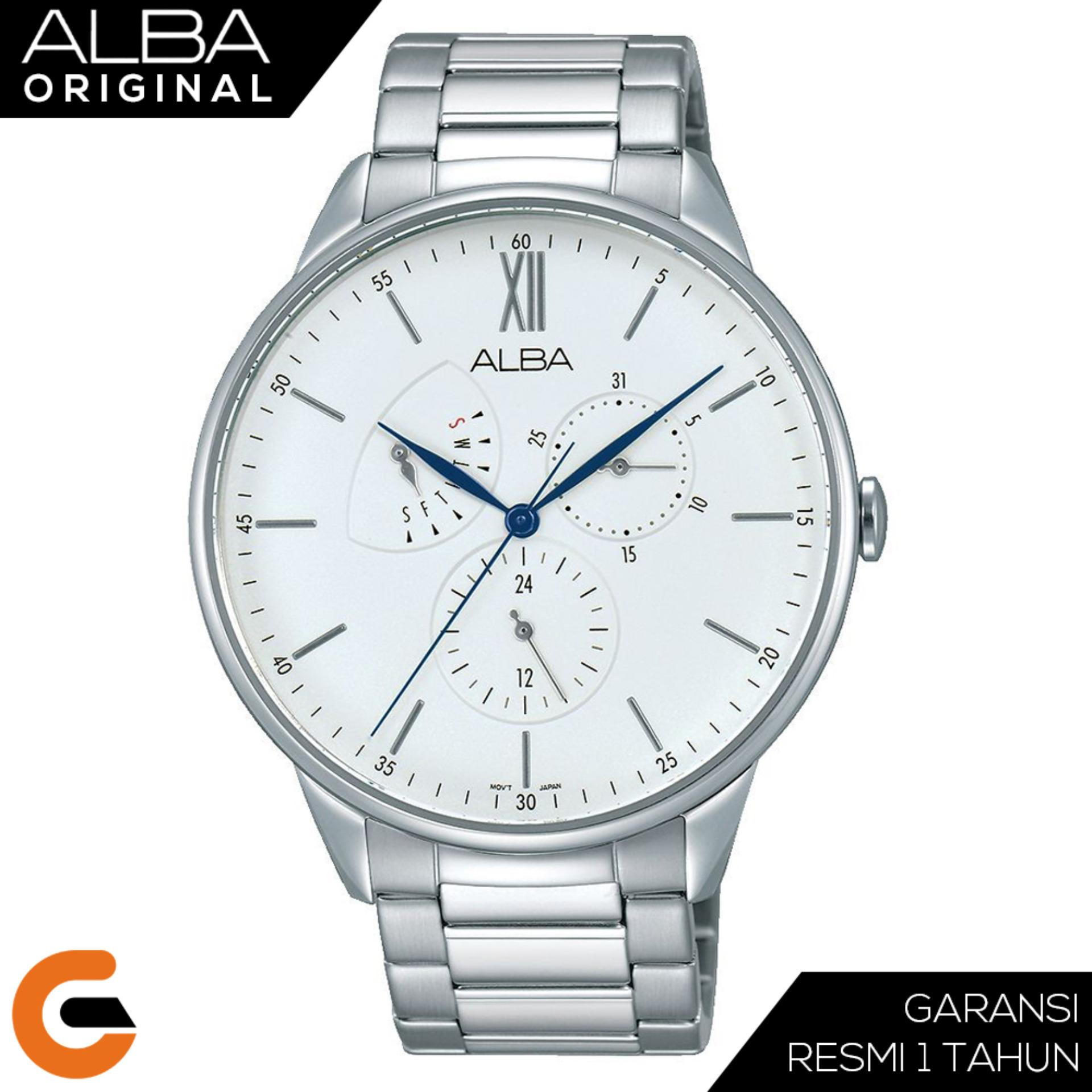 ALBA Chronograph Jam Tangan Pria Tali Stainless Steel Quartz Movement AZ800 Series