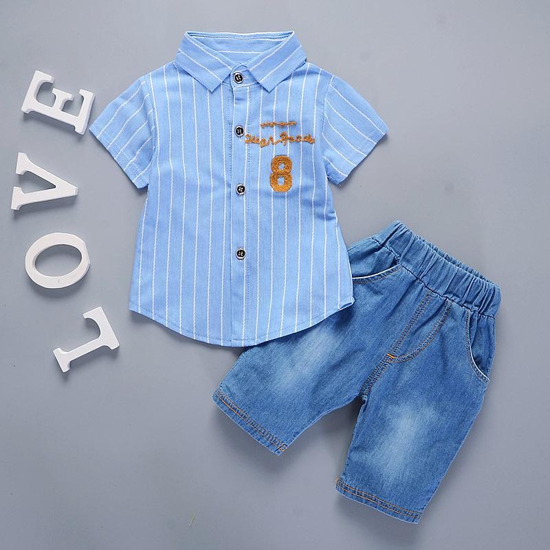 Summer Boys Short Sleeve Stripe Shirt + Jeans Pendek Celana Set Baju Anak-anak Pakaian-Intl (size:L)