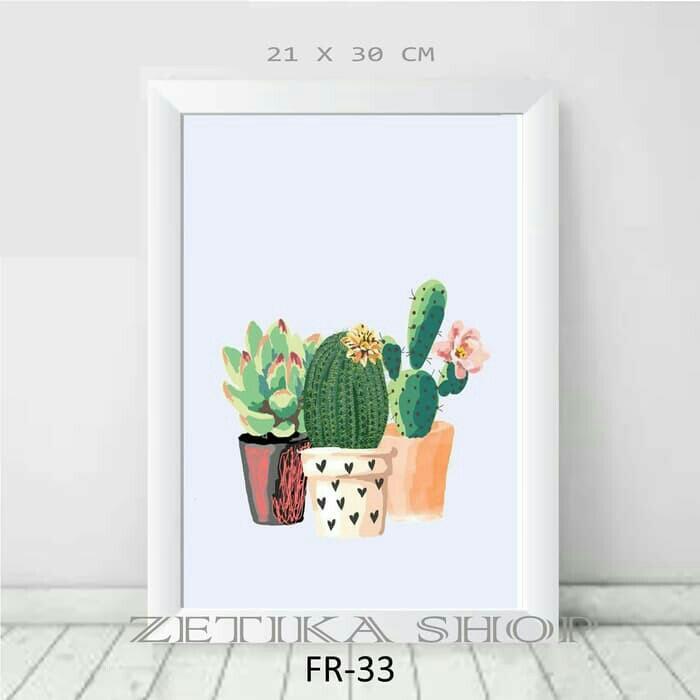 Best Seller - FR33 - Poster Bingkai Motif Kaktus Hiasan Dinding Dekor Rumah - Poster Murah