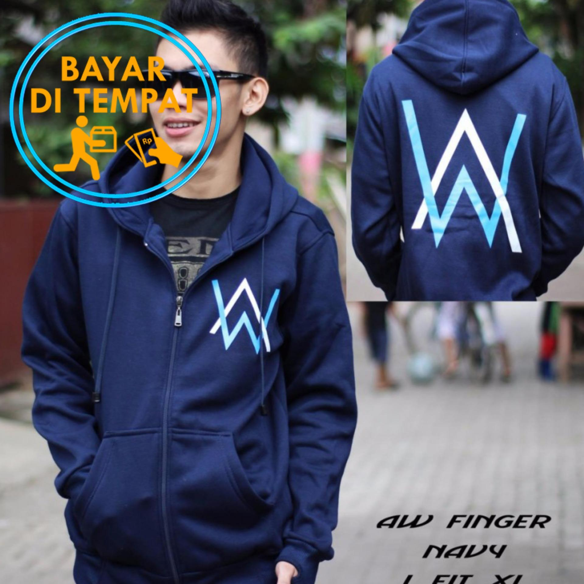 Jaket Murah Hoodie Zipper Alan Walker - Navy (Logo Blue White)