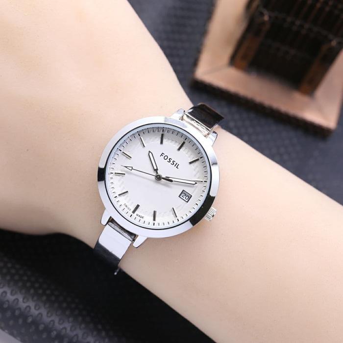 Jam Tangan Wanita / Cewek Murah Fossil Glossy Rantai Silver White  AMO Store