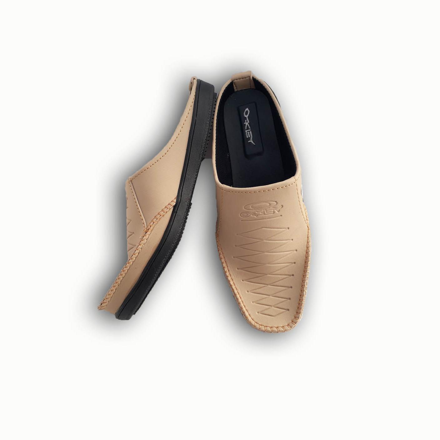 Arjun4 Sepatu Sandal Selop Kulit Sintetis KWL - Sepatu Sandal Pantofel Pria - Sandal Pria Slop - Krem