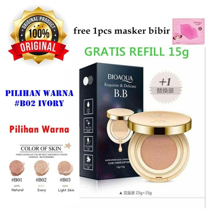 [02] Ivory - Bioaqua Exquisite and Delicate BB Cream Air Cushion Pack Gold - BB Gold + Refill + Free Masker Bibir