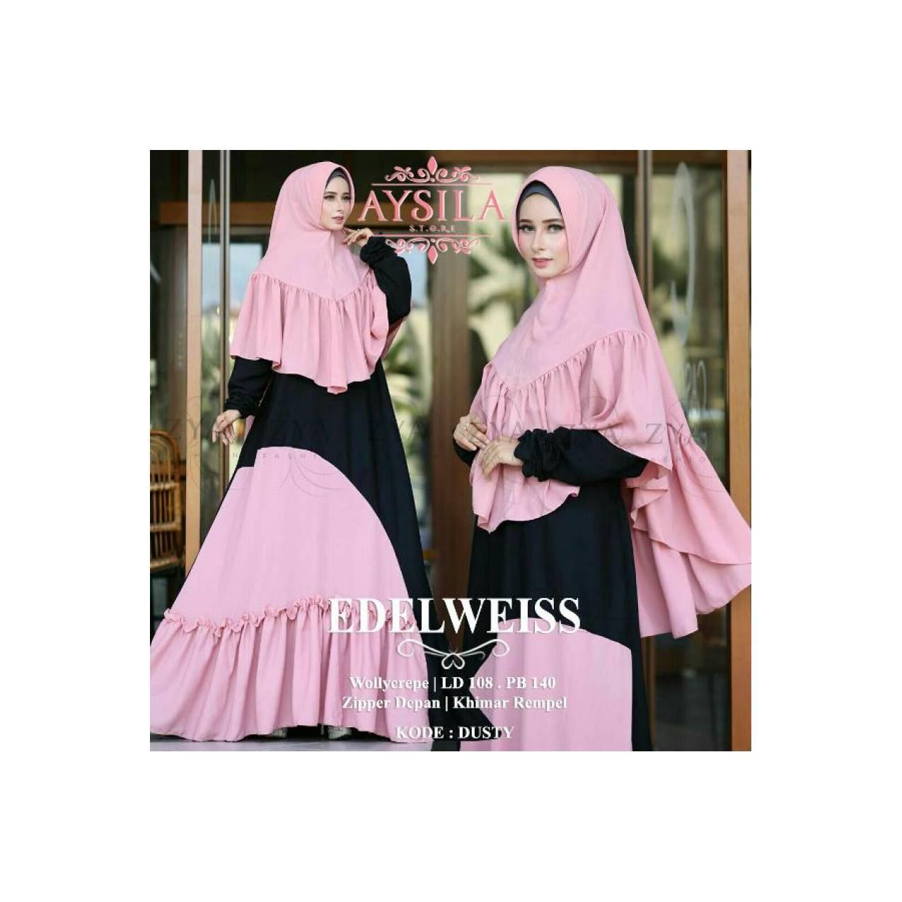 Dress Muslim Edelweis Syari Ori Aysila-Model Terbaru-Menarik
