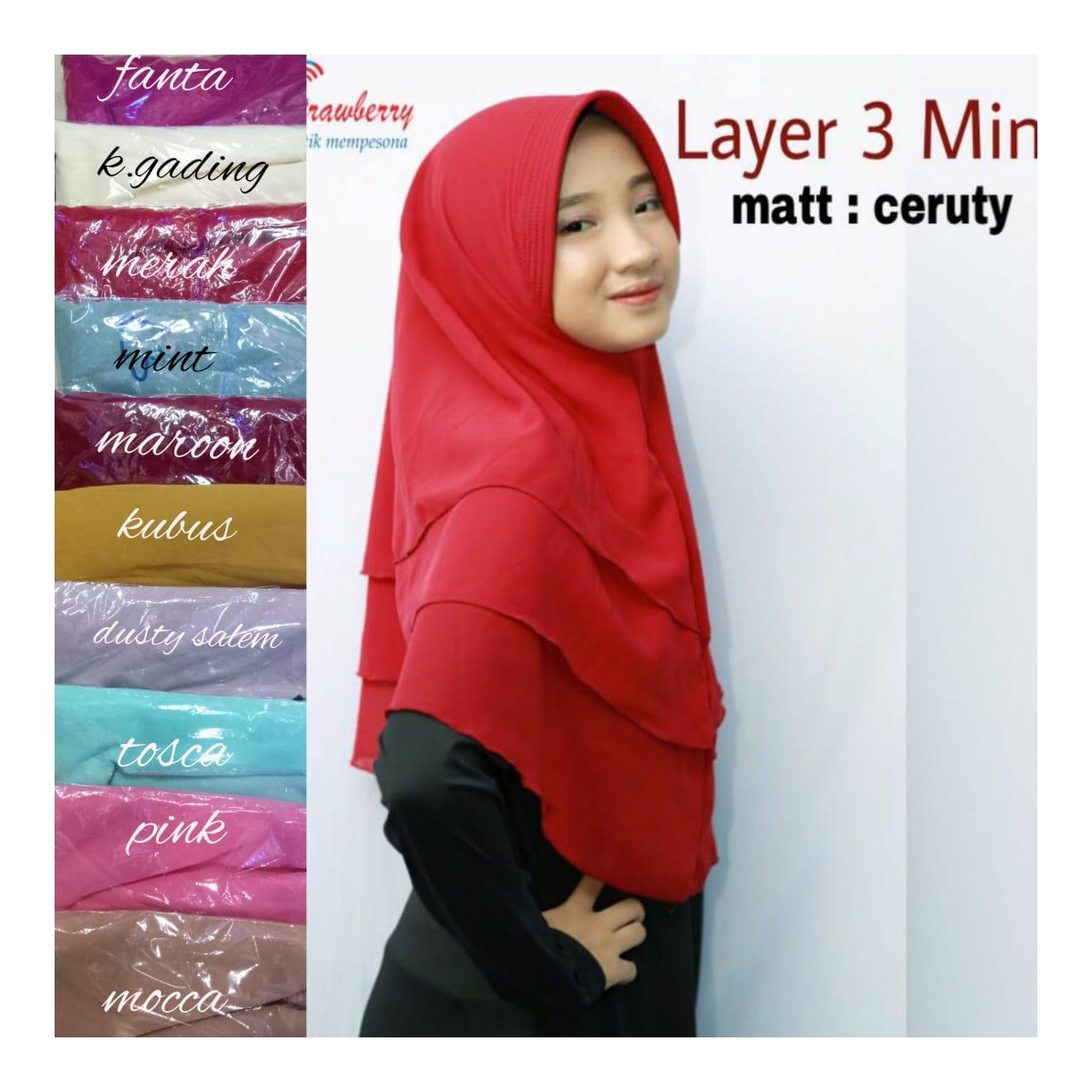 Khimar pet ceruti 3 layer mini/ Jilbab Instan Khimar Syari mini 3 Layer Hijab/ khimar pet mini 3 layer