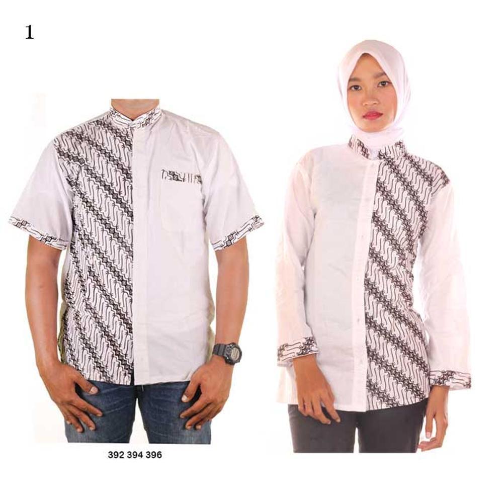 baju couple batik koko muslim warna dasar putih JB Luqman