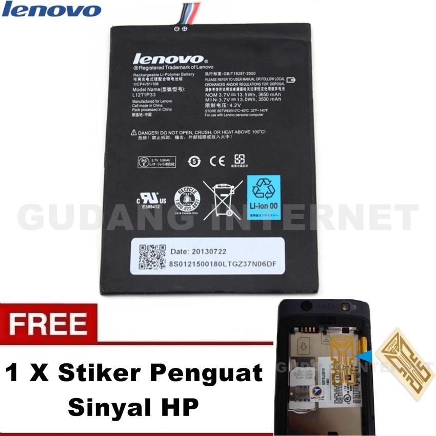 Lenovo Baterai Battery Tab A1000 3650mAh Original L12T1P33 - Hitam Free Stiker Penguat Sinyal HP