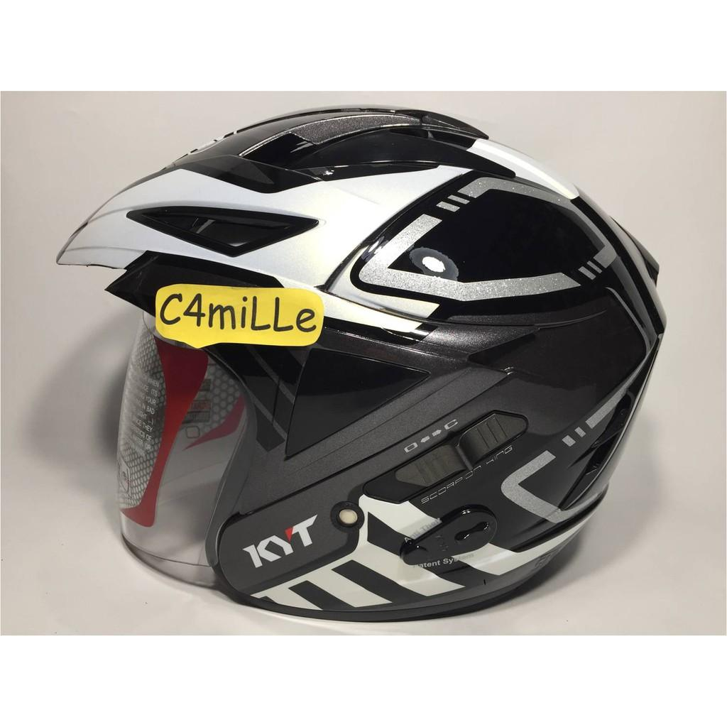 HELM KYT SCORPION KING R MOTIF #7 BLACK WHITE PEARL DOUBLE VISOR HALF FACE