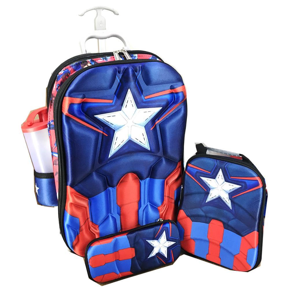 BGC 4 in 1 Avenger Captain America Otot Koper Set Troley 6 Roda + Lunch Bag