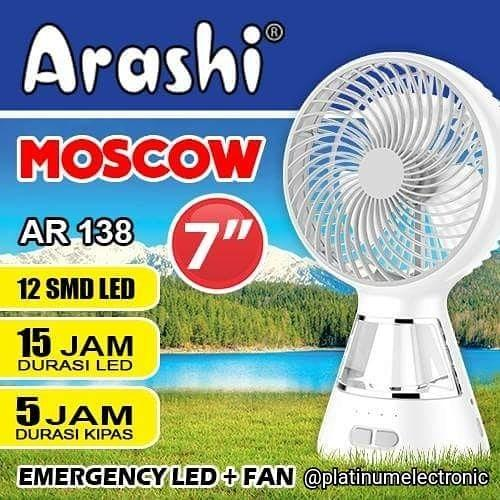Arashi Kipas Angin Meja MOSCOW AR-138X Portable 7 inch + Lampu Emergency LED 12SMD + Rechargeable
