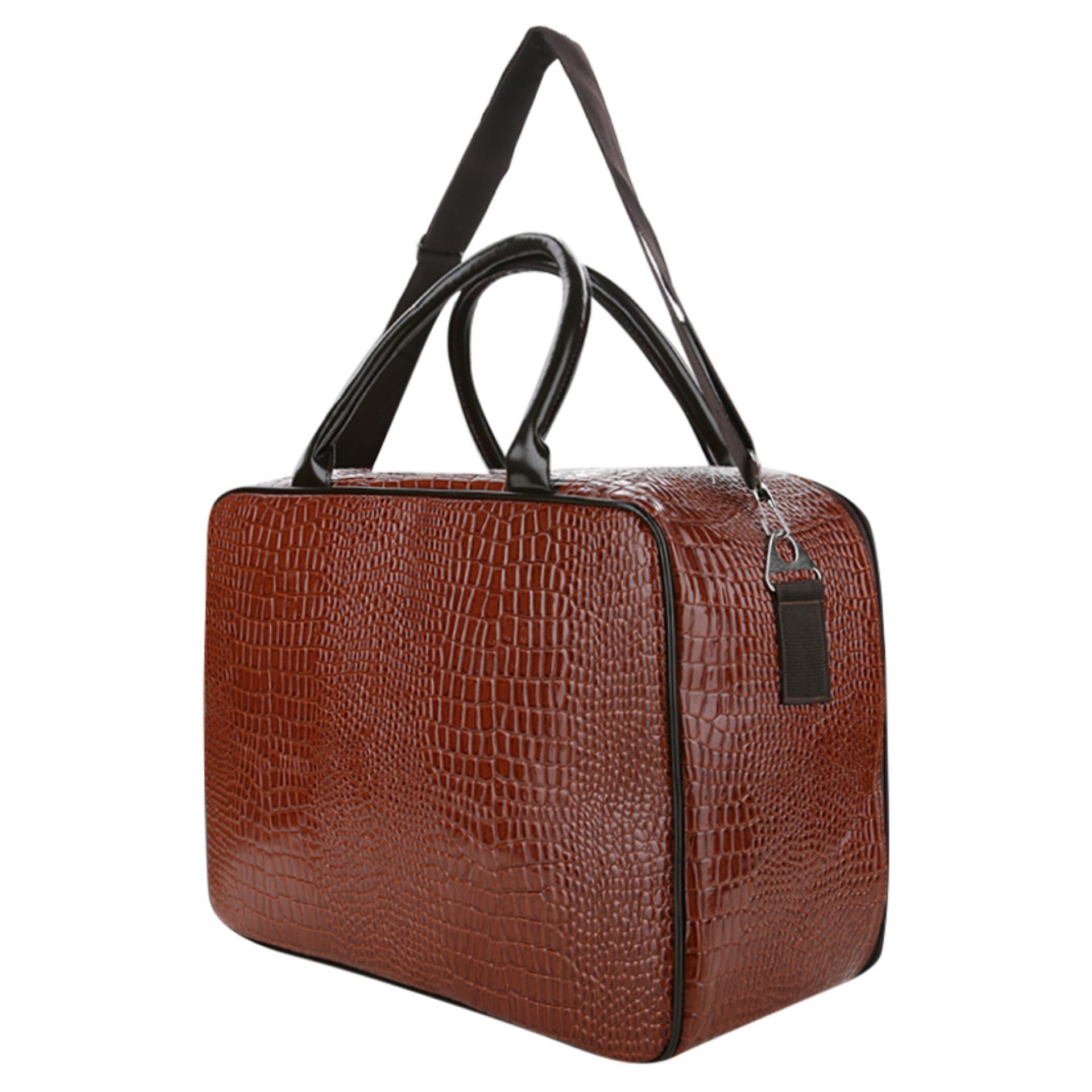 AMT Tas Koper Travel Bag Pria dan Wanita Kulit Buaya Sintetis - Coklat