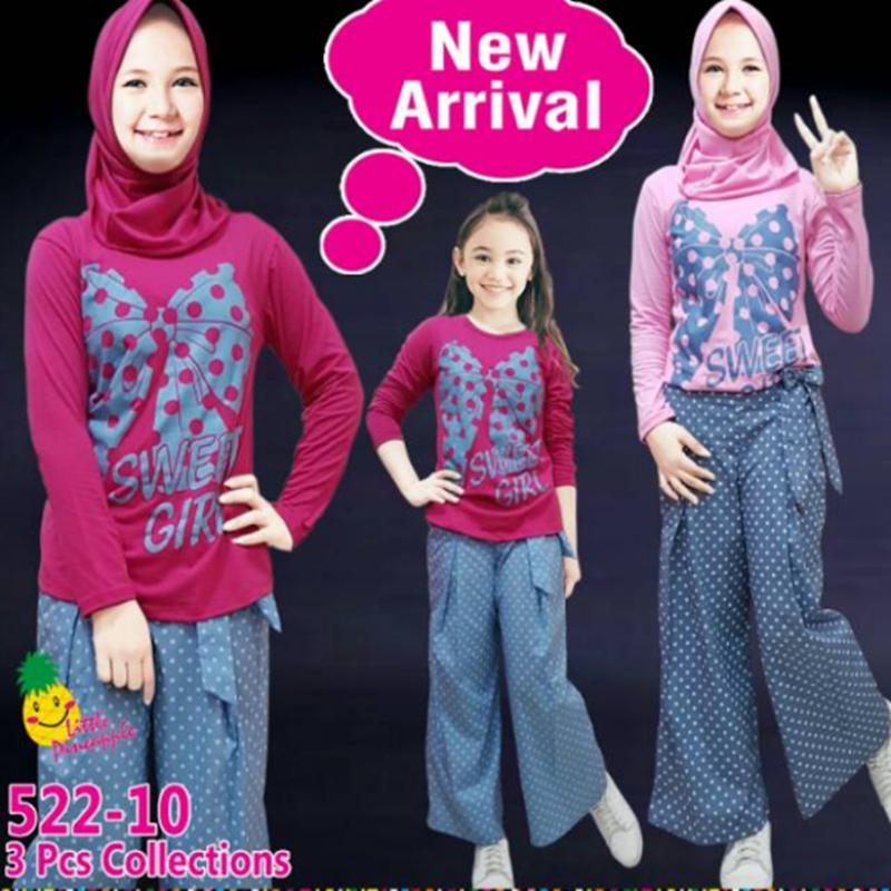 Baju Setelan Muslim Anak Perempuan Little Pineaple (LP) Baju PITA Celana Kulot Abu Polkadot