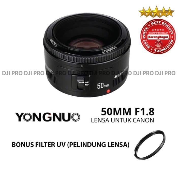 PALING DICARI LENSA YONGNUO EF YN 50MMF1.8 FOR CANON BONUS FILTER UV - LENSA FIX