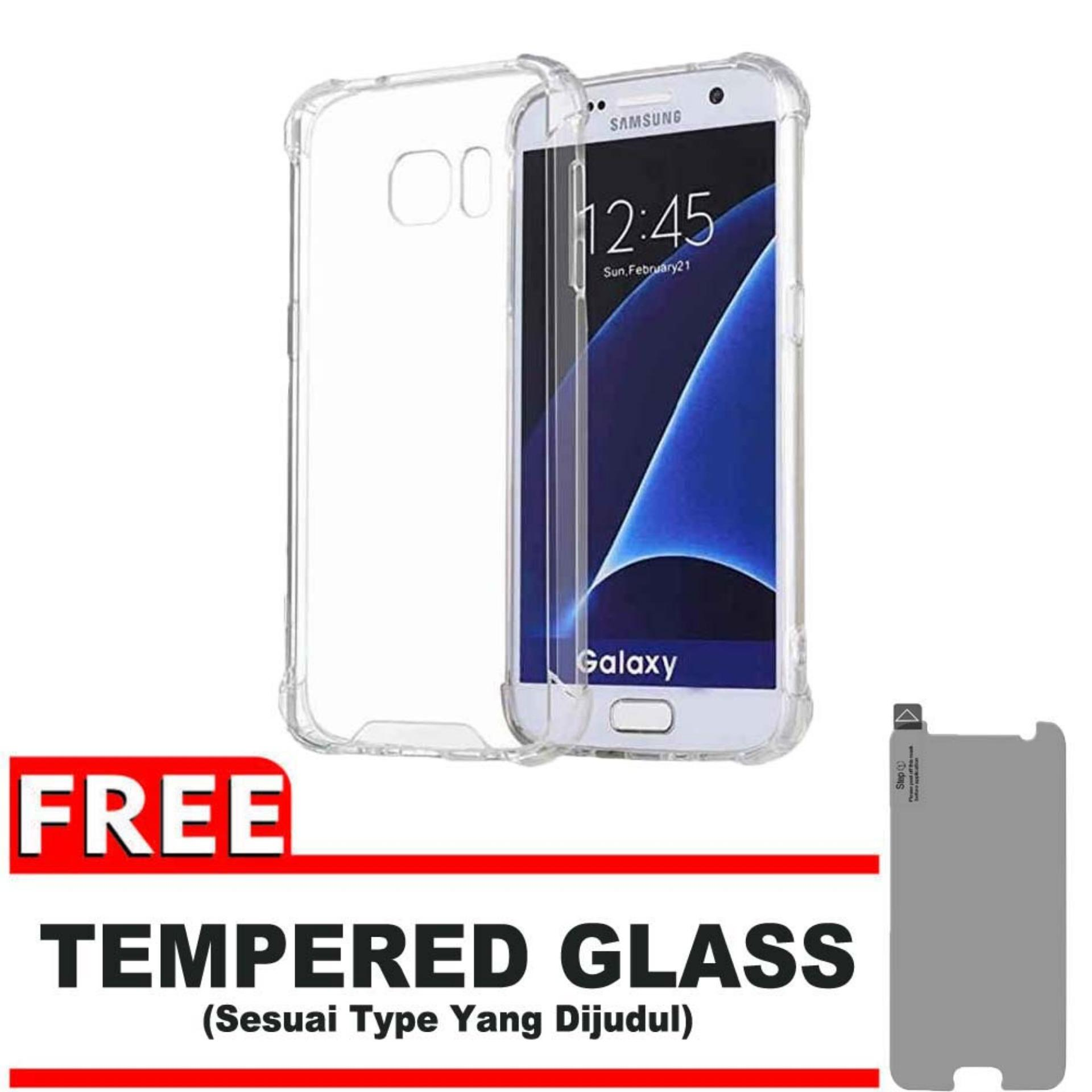 ShockCase for Samsung Galaxy S6 Flat (G920) / 4G LTE / Duos | Premium Softcase Jelly Anti Crack Shockproof - Gratis Free Tempered Glass Protector - Transparan