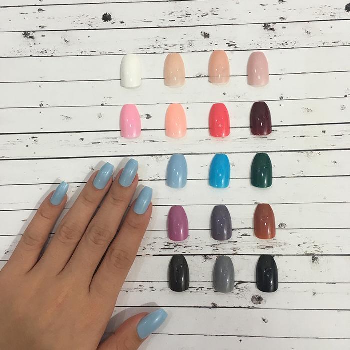 24 Tips Colored Coffin Fake Nails / Kuku Palsu Warna - warna yang cantik - terlaris