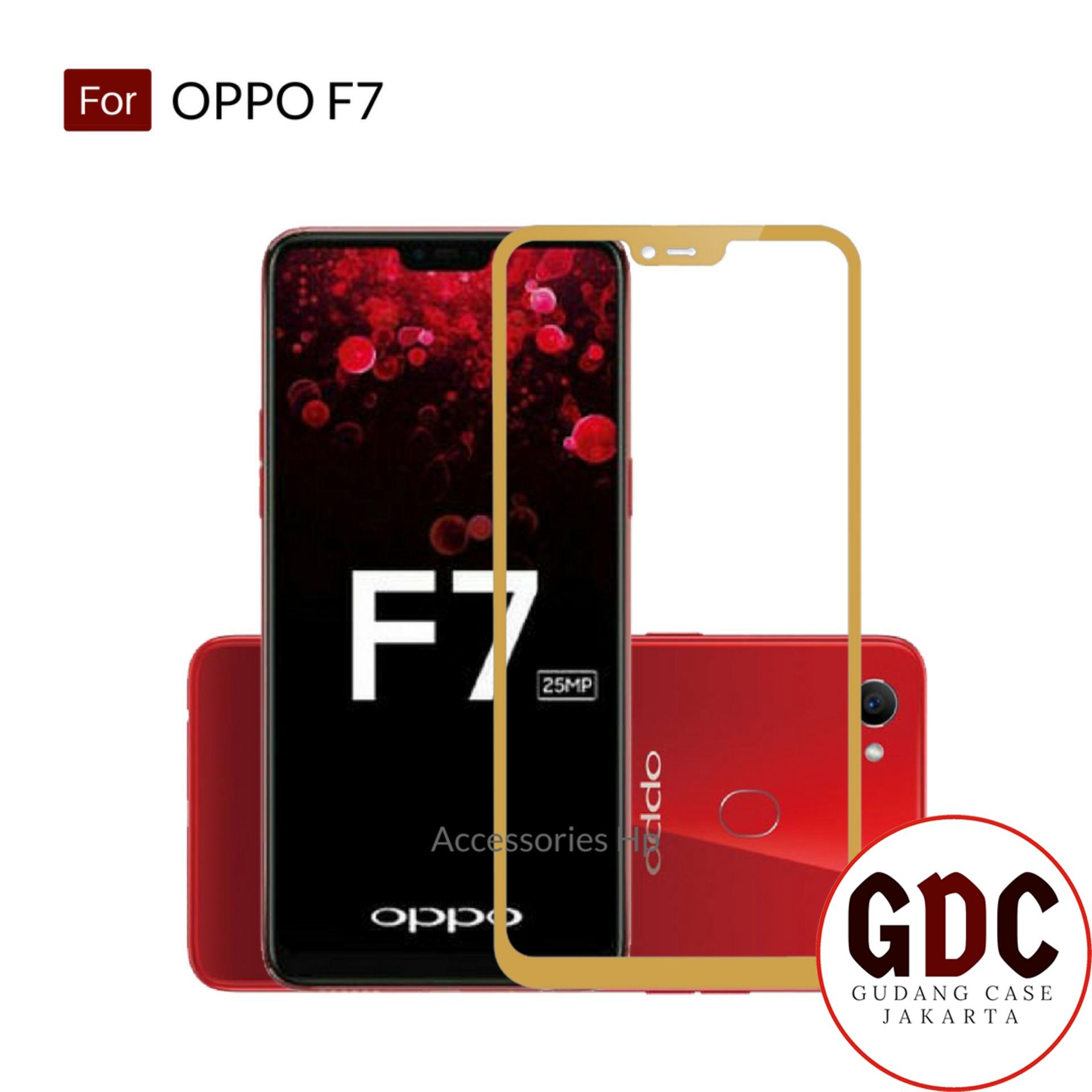 GDC Full Cover Tempered Glass Warna Screen Protector for Oppo F7 - Gold