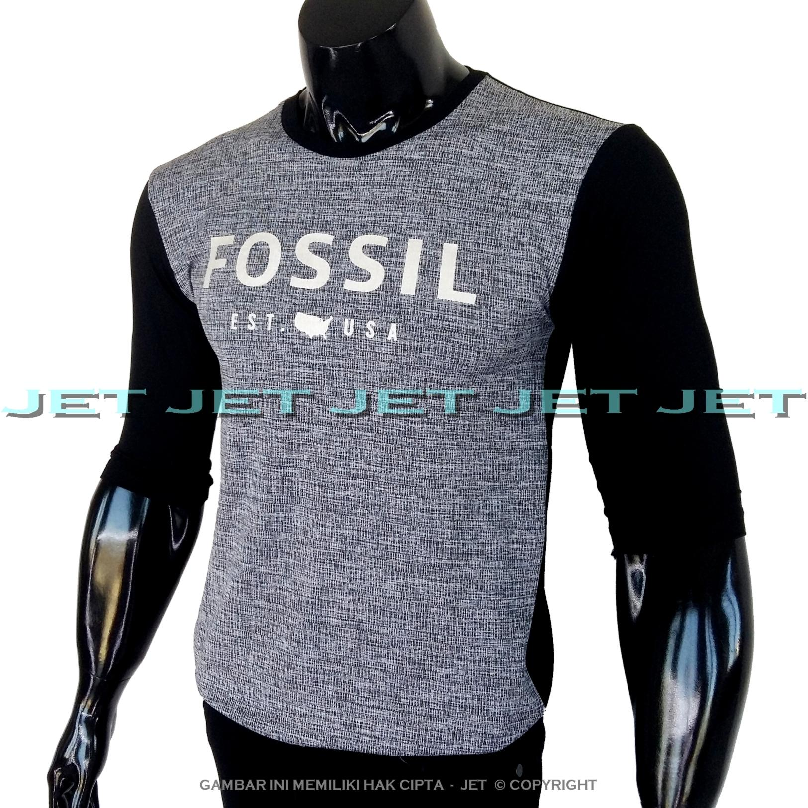 JET - Kaos Distro FOSSIL Lengan 3/4 Panjang Soft Rayon Viscose Blended Lycra Size M Fit To L Pria / Wanita Garis Salur Motif Visual Art