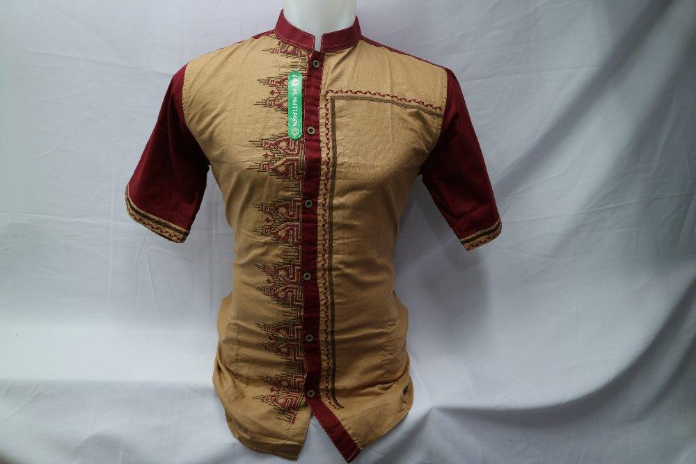 Baju Koko Muslim Pria Kemeja Dewasa Bordir Kombinasi Lengan Pendek Gamis Baju Muslim Al Muttaqin 051 di lapak Al Muttaqin Collection produsenbajukoko