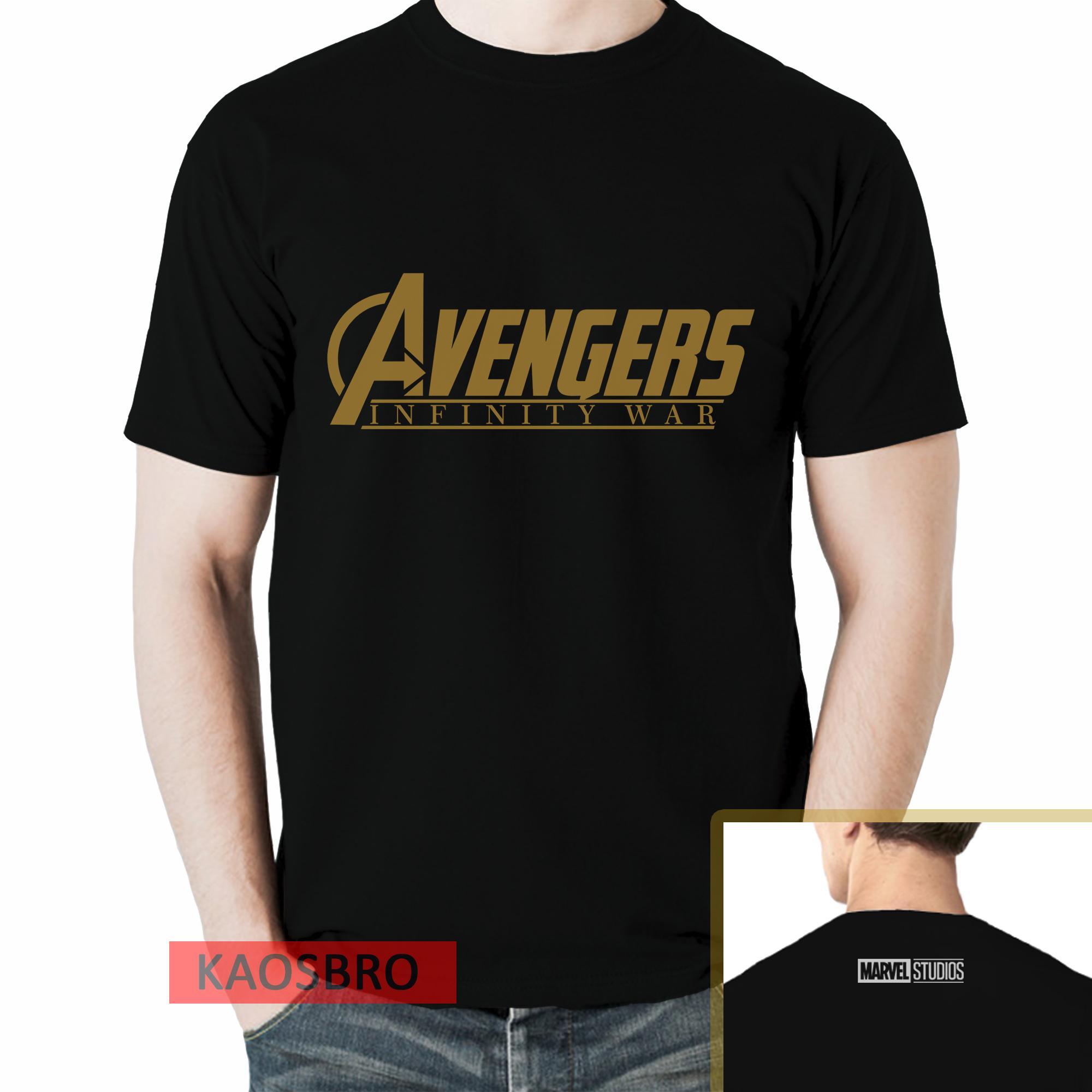 Atasan Kasual Kaos Kemeja Pria Salo Sepatu Denim Coklat Avengers Infinity War Wanita Dan Anak Hitam