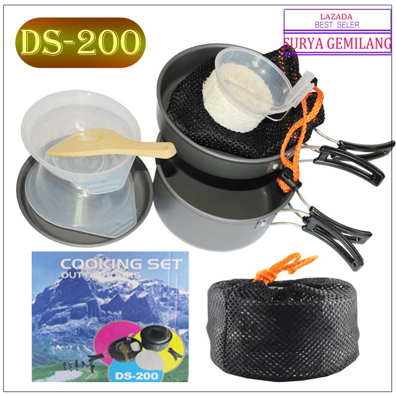 Cooking Set DS-200 Kemasan BIRU Panci set Out Door Camping Hiking