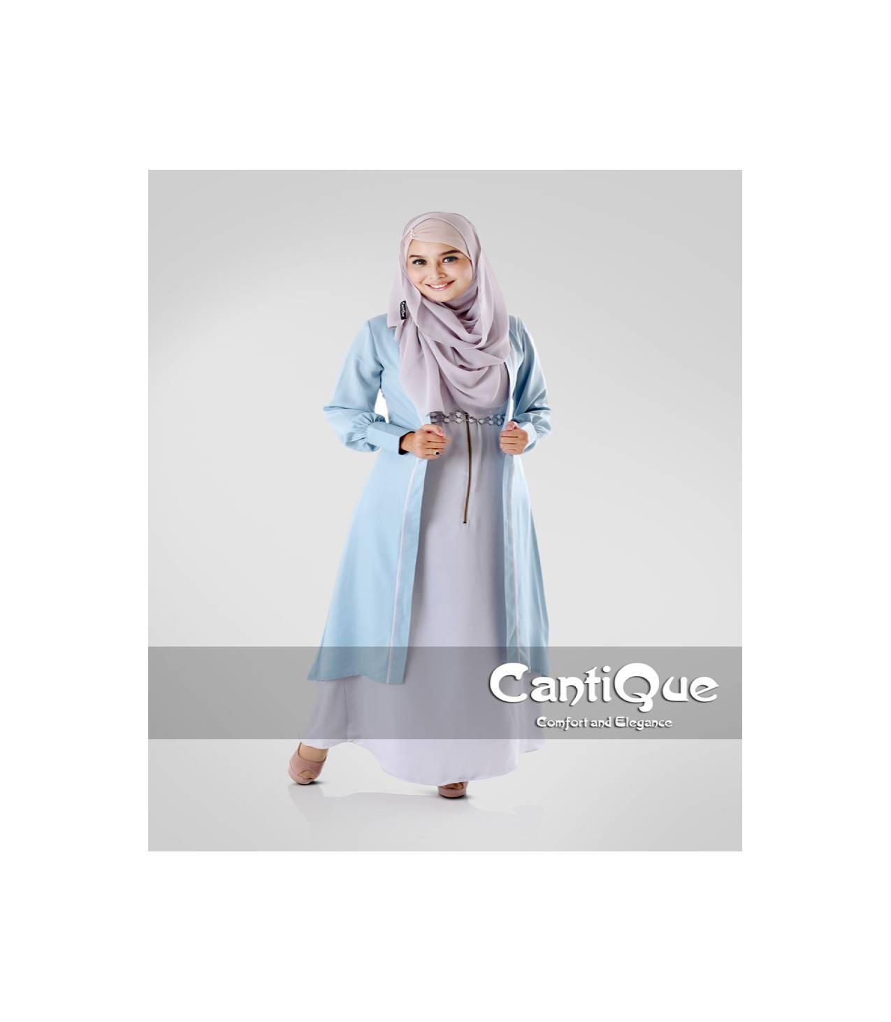 CQ 1518 long cardi + singlet by CantiQue ( Blue )