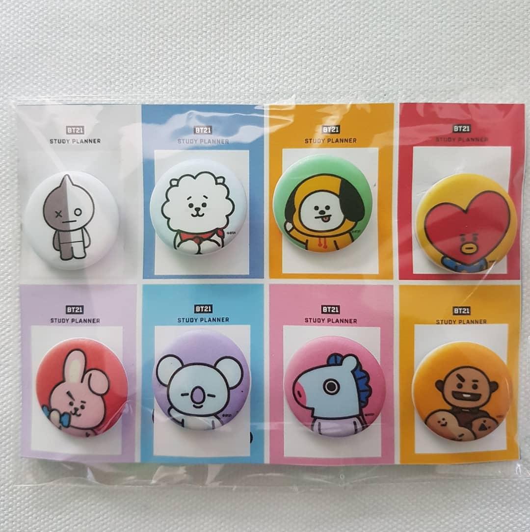 bts pin button bt21 bts brooch kpop bangtan boys jimin suga taehyung jungkook jin j-hope rap monster