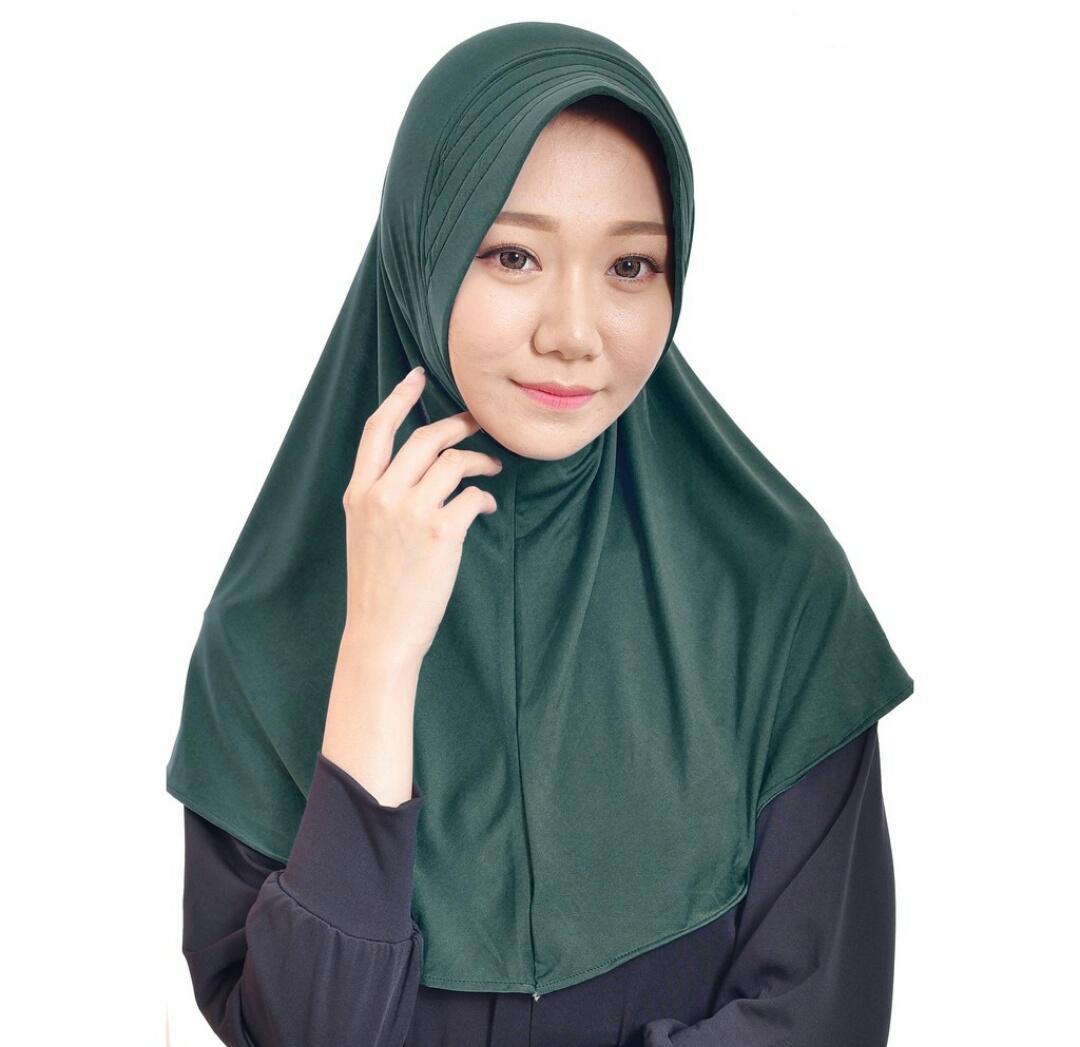 Buy Sell Cheapest Premium Kerudung Instant Best Quality Product Hijab Instan Najwa Jilbab Kaos Katun Tc Biru Spandex