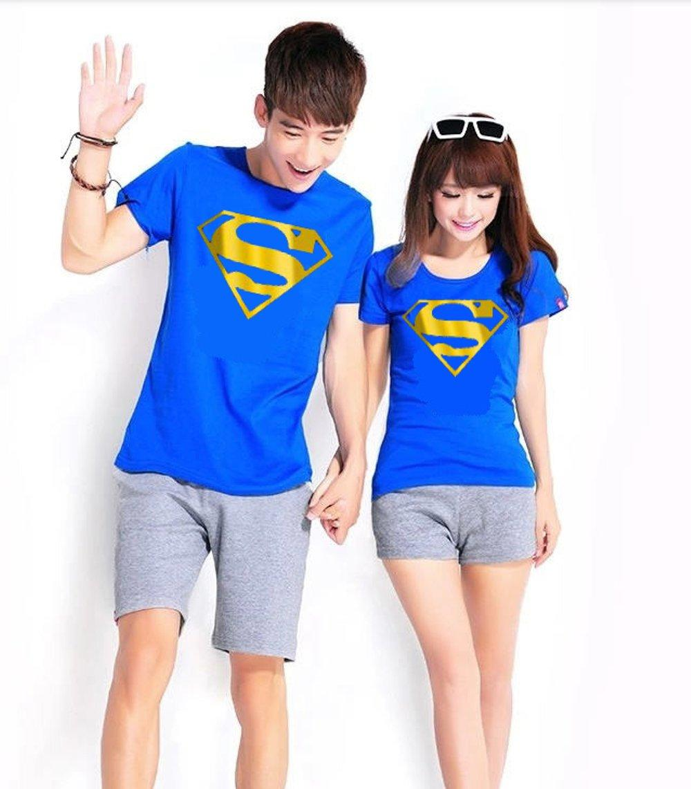 KAOS COUPLE SUPERMAN GOLD FOIL (BIRU) di lapak COUPLE GROSIR couplegrosir