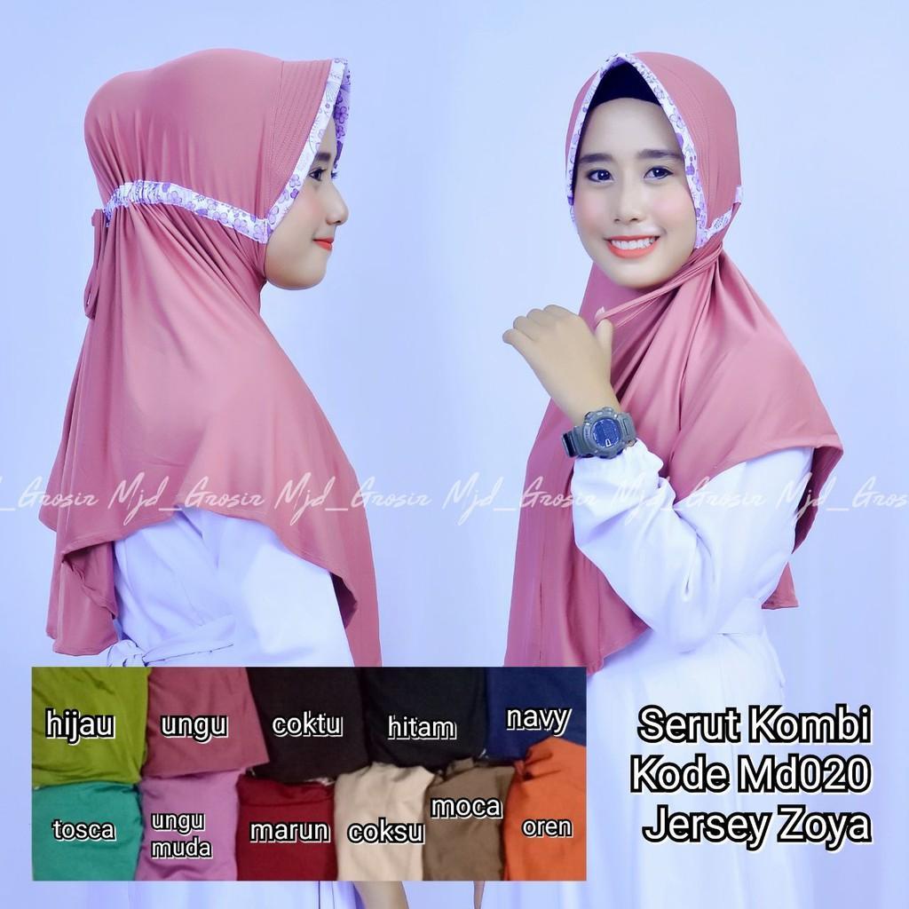 Grosir jilbab mukena hijab kerudung murah instan serut kombi jersey zoya (md020) (tosca)