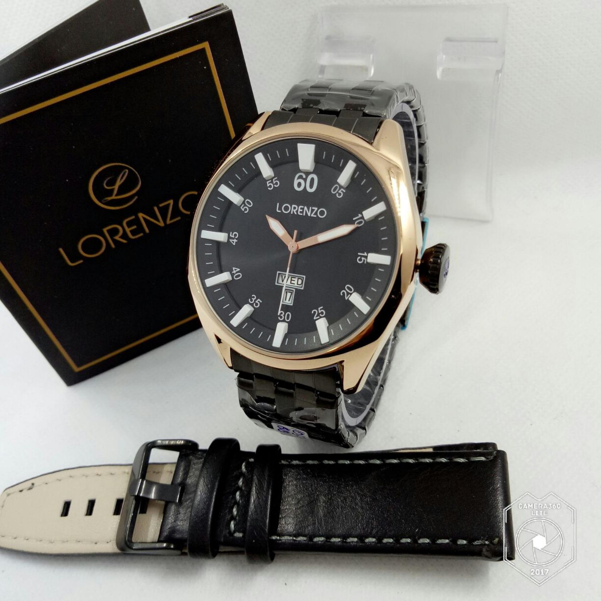 Lorenzo Original LZ1032GZ - Jam Tangan Pria - Stainless Strap + Free Gift 1 Pc Tali