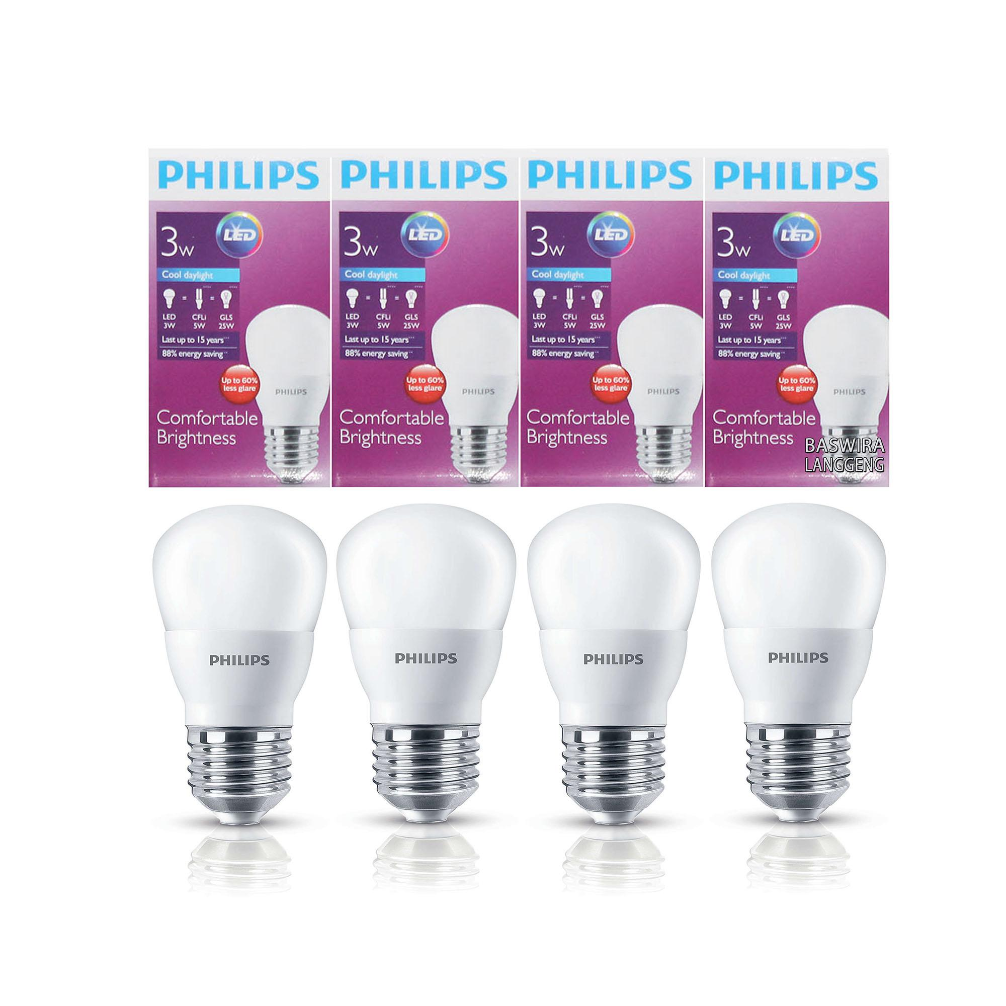 PHILIPS Lampu Led Bulb 3 Watt 3 W 3Wat 3W Putih Paket 4 Pcs