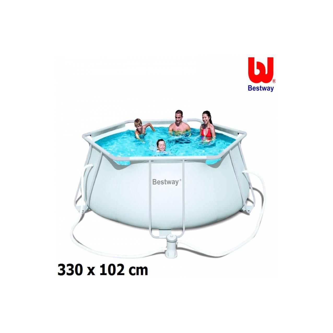 Kolam renang putih Ground Pool Bestway 56245 - Steel Pro Frame Pools