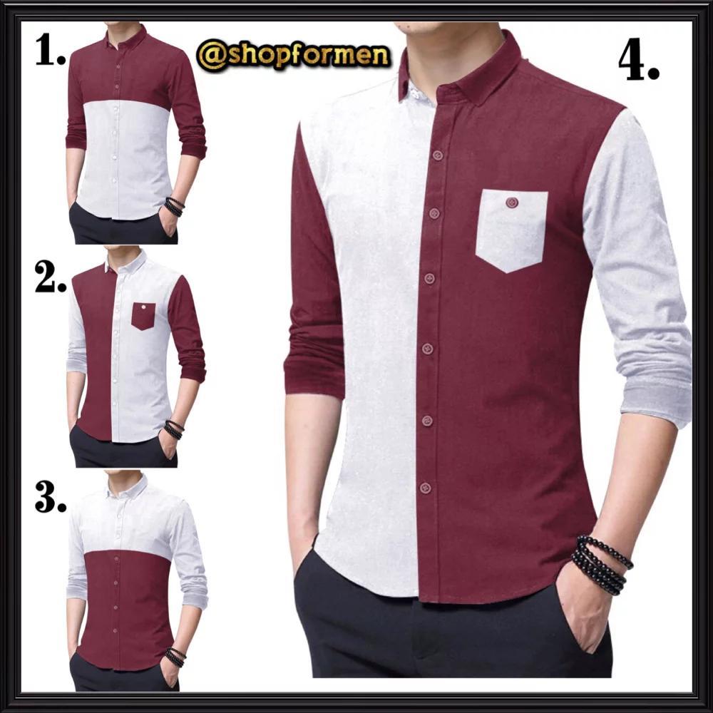 Kemeja Pria Casual , Lengkap dengan motif kantong, cocok untuk pria kantoran, kuliahan, dan bepergian