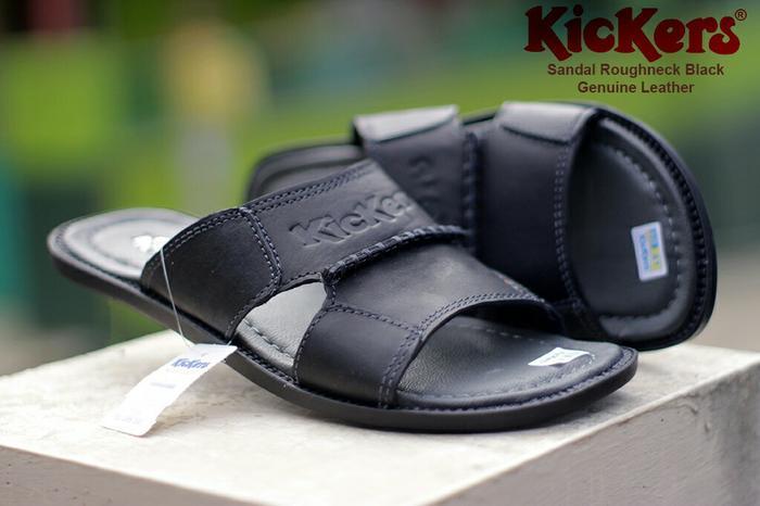 Diskon 10%!! Sandal Casual Pria Kickers Roughneck Hitam Kulit Sapi - ready stock
