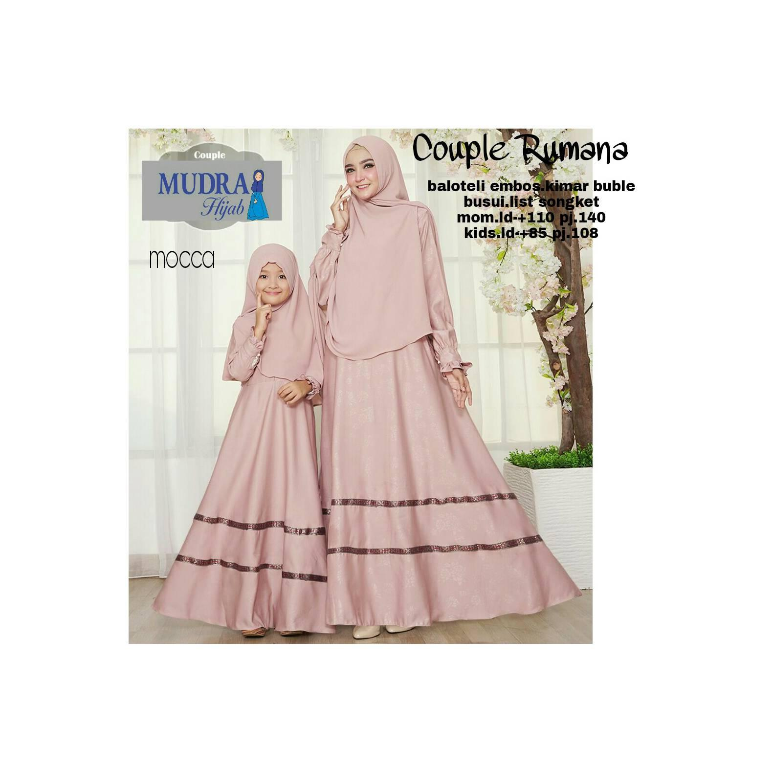 Gamis Cauple Rumana balotely embos list songket busui fashion muslim