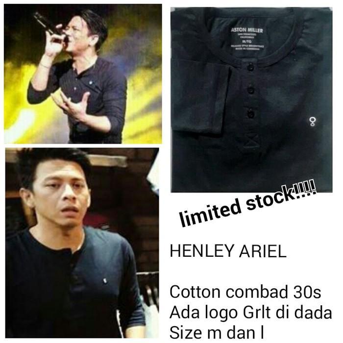 Henley Ariel Noah Hitam T-Shirt GRLT Ariel / Kaos Baju Greenlight - Kjigko