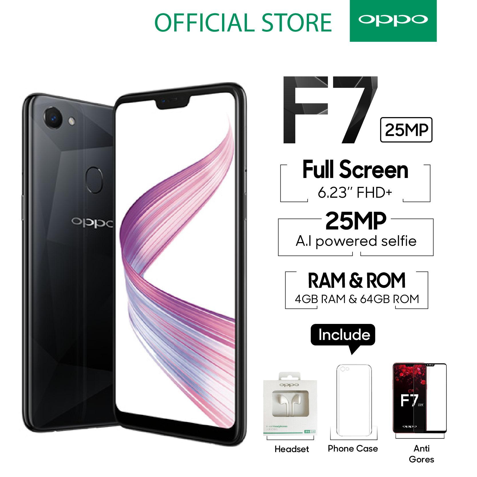 OPPO F7 SMARTPHONE 4GB 64GB Black Al Powered Selfie 25 MP COD